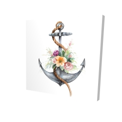 Canvas 24 x 24 - 3D - Boat anchor with flowers
