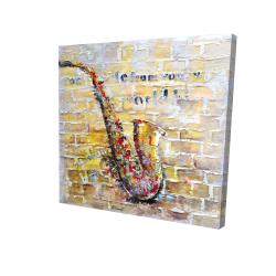 Saxophone on brick wall