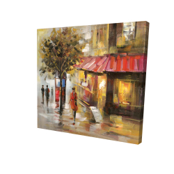 Canvas 36 x 36 - 3D - Abstract street with passers