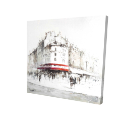Canvas 24 x 24 - 3D - White street with red accents
