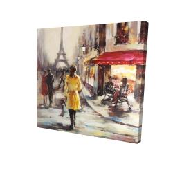 Yellow coat woman walking on the street