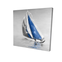 Canvas 24 x 24 - 3D - Gray and blue boat sailing