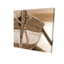 Canvas 24 x 24 - 3D - Tied up rowing boat