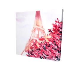 Canvas 24 x 24 - 3D - Pink eiffel tower