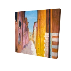 Canvas 24 x 24 - 3D - Colorful houses in the streets of collioure