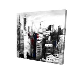 Canvas 24 x 24 - 3D - White city with paint splash