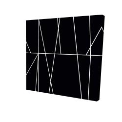 Canvas 24 x 24 - 3D - White stripes on black background