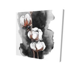 Canvas 24 x 24 - 3D - Watercolor cotton flowers