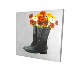 Canvas 24 x 24 - 3D - Boots full of flowers
