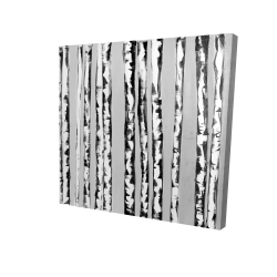 Canvas 48 x 48 - 3D - Birches black and white