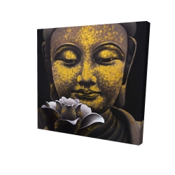 Canvas 24 x 24 - 3D - The eternal smile of buddha and his lotus