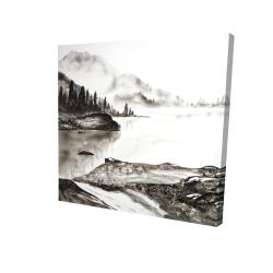 Canvas 24 x 24 - 3D - Peaceful landscape