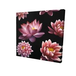 Canvas 24 x 24 - 3D - Lotus flower pattern