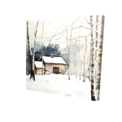 Canvas 24 x 24 - 3D - Small winter barn