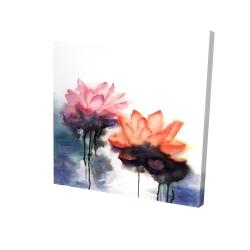 Canvas 24 x 24 - 3D - Watercolor lotus flowers