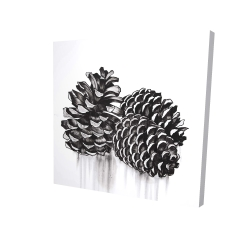 Canvas 24 x 24 - 3D - Three small pine cones