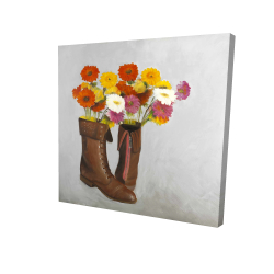 Canvas 24 x 24 - 3D - Boots with daisies flowers