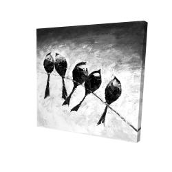 Canvas 24 x 24 - 3D - Five birds perched
