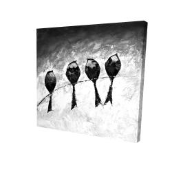 Canvas 24 x 24 - 3D - Four birds perched