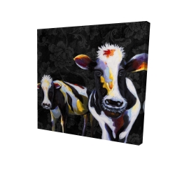 Canvas 24 x 24 - 3D - Two funny cows victorian