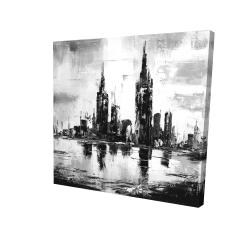 Canvas 24 x 24 - 3D - Mono urban cityscape