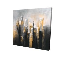 Canvas 24 x 24 - 3D - Abstract gold skyscraper