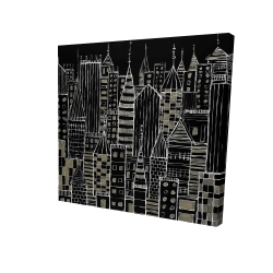 Canvas 24 x 24 - 3D - Illustrative dark city