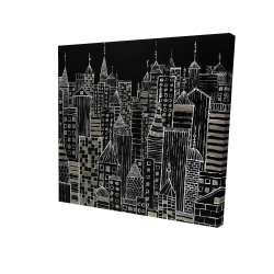 Canvas 24 x 24 - 3D - Illustrative city towers