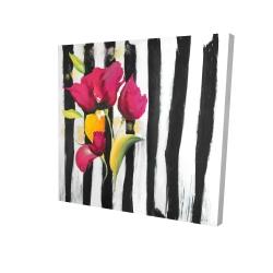 Canvas 24 x 24 - 3D - Pink flowers on black stripes