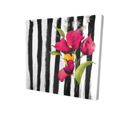 Canvas 24 x 24 - 3D - Flowers on black and white stripes
