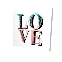 Toile 24 x 24 - 3D - Amour coloré
