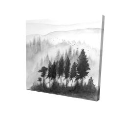 Canvas 24 x 24 - 3D - Mono mountains landscape in watercolor