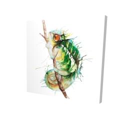 Canvas 24 x 24 - 3D - Watercolor chameleon