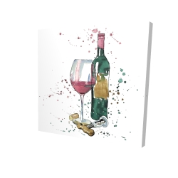 Canvas 24 x 24 - 3D - Bottle of red wine