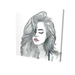 Canvas 24 x 24 - 3D - Beautiful female hair