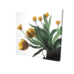 Canvas 24 x 24 - 3D - Yellow tulips