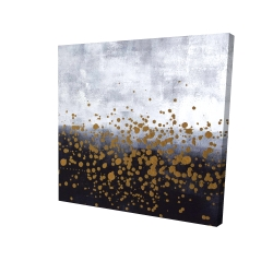 Canvas 24 x 24 - 3D - Gold paint splash on gray background