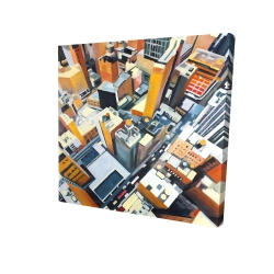 Canvas 24 x 24 - 3D - High top view of buildings in new york