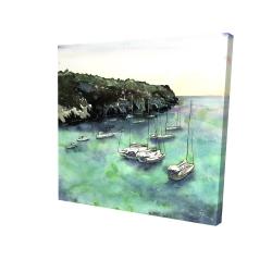 Canvas 24 x 24 - 3D - Boats in cala macarella