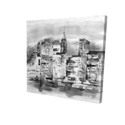 Canvas 24 x 24 - 3D - Watercolor cityscape with buildings