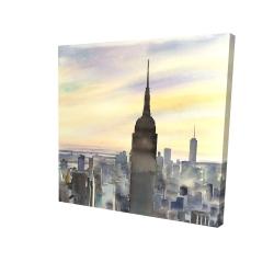 Canvas 24 x 24 - 3D - Sunset over new york city