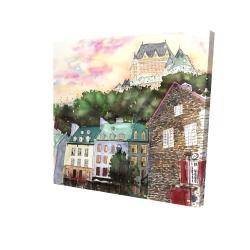 Canvas 24 x 24 - 3D - Château frontenac in the petit champlain