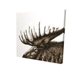Canvas 24 x 24 - 3D - Moose plume sepia