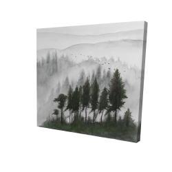 Canvas 24 x 24 - 3D - Mountains landscape in dark watercolor