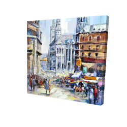 Canvas 24 x 24 - 3D - Busy street by a sunny day 1
