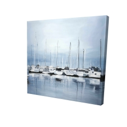 Canvas 24 x 24 - 3D - Boats at the dock 2