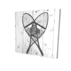 Canvas 24 x 24 - 3D - Vintage monochrome wood snowshoes