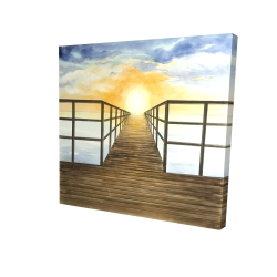 Canvas 24 x 24 - 3D - Sunset in the sea