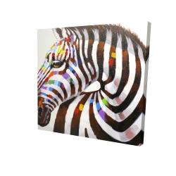 Canvas 48 x 48 - 3D - Colorful zebra