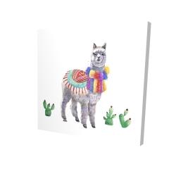 Canvas 24 x 24 - 3D - Traditional peruvian lama